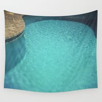 aqua Wall Tapestries featuring Aqua by Cassia Beck