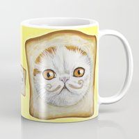snoopy Mugs featuring Snoopy aka Breadcat - Cats with Moustaches by Megan Mars