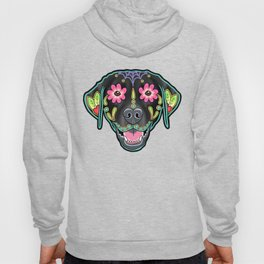 Labrador Retriever - Black Lab - Day of the Dead Sugar Skull Dog Hoody