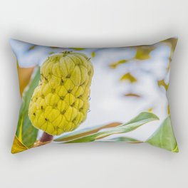 Fresh sugar apple on tree in the garden. Tropical fruit custard apple on nature green background. Rectangular Pillow