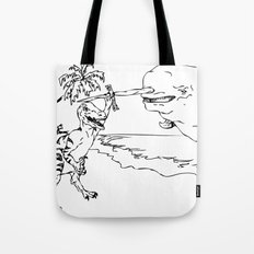 Narwal and Velociraptor Fighting over Bacon Tote Bag