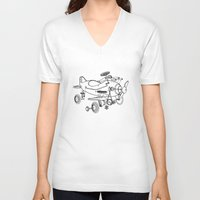 plane V-neck T-shirts featuring Pedal Plane by Mobii