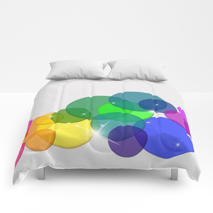 Translucent Rainbow Colored Circles with Sparkles - Multi Colored Comforters
