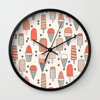 ice Wall Clocks featuring Ice Cream Season by Andrea Lauren Design