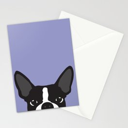 Boston Terrier Violet Stationery Cards