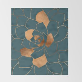 Abstract Metal Copper Blossom on Emerald Throw Blanket