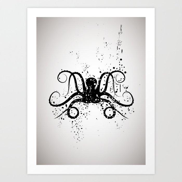 Octous black and white Art Print