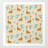 giraffes Art Prints featuring Giraffes by BlueLela