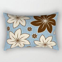 Floral design on blue Rectangular Pillow