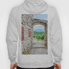 Town of Hum stone gate and street view Hoody