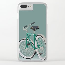 A snowy bike illustration Clear iPhone Case