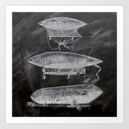 chalkboard art victorian steampunk hot air balloon airship patent print Art Print