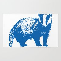 badger Area & Throw Rugs featuring Blue Badger by Frances Roughton