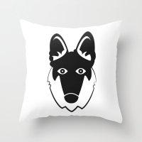 german shepherd Throw Pillows featuring German Shepherd by anabelledubois