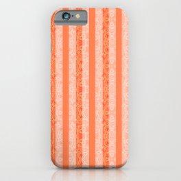 Living Coral Color Doodle Stripes iPhone Case