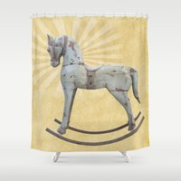 toddler Shower Curtains featuring Vintage rocking horse by Light Wanderer