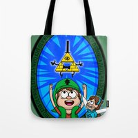 gravity falls Tote Bags featuring Gravity Falls: Hyrule Falls by Macaluso