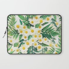 Textured Vintage Daisy and Fern Pattern  Laptop Sleeve