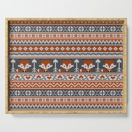 Fair Isle Fox - Reddish and Gray Serving Tray