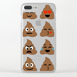 piles of poop in different moods Clear iPhone Case