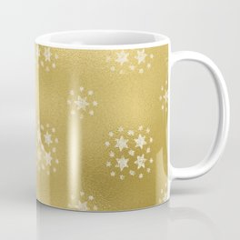 Merry christmas- white winter stars on gold pattern I Coffee Mug
