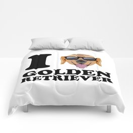 I Love Golden Retriever modern v1 Comforters
