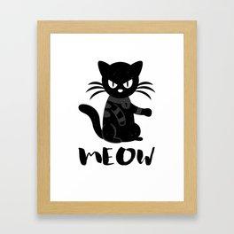 Black Cat T-Shirt Kitty Lovers Gift Framed Art Print