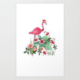 Santa Flamingo Christmas, Holiday Tropical Watercolor Art Print