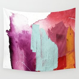 Desert Daydreams [3]: a colorful abstract mixed media piece in purple blue pinks and orange Wall Tapestry