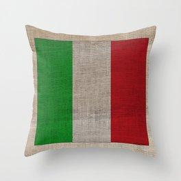 Vintage Italian Flag on Antique Burlap Texture Throw Pillow