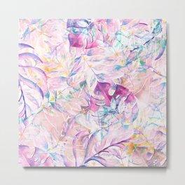Tropical lavender teal pink watercolor foliage floral Metal Print
