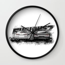Brian's Toyota Supra and Dom's Dodge Charge (Fast and Furious Edition #4)- FF7 Wall Clock
