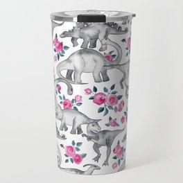 Dinosaurs and Roses - white Travel Mug