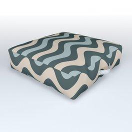 Blue Willow Green & Alpaca Wool Cream Wavy Horizontal Stripes on Night Watch Green Outdoor Floor Cushion