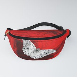 Silver butterfly emerging from the red depths Fanny Pack