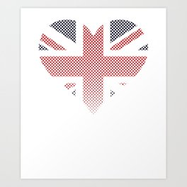 Union Jack Love England Faded Flag Art Print