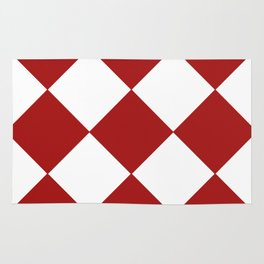 Red and White Argyle Rug