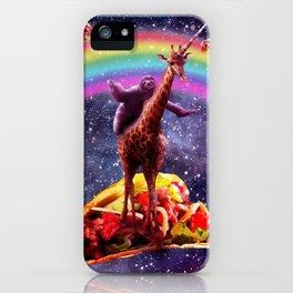 Space Sloth Riding Giraffe Unicorn - Taco & Burrito iPhone Case
