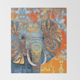 The Happy Blue Elephant Throw Blanket