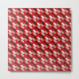 Abstract Leaves (Red): a lively everyday pattern with a retro feel to rev up your day Metal Print