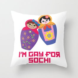 I'm Gay for Sochi—Female Nesting Dolls Throw Pillow