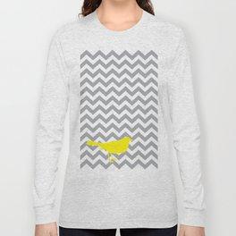 Yellow Bird on Gray Chevron Long Sleeve T-shirt