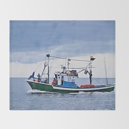 Traditional fishing boat off Tenerife in the Canary Islands Throw Blanket