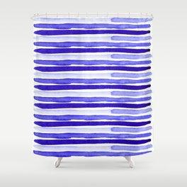 Ultra Violet Watercolour Stripes Shower Curtain