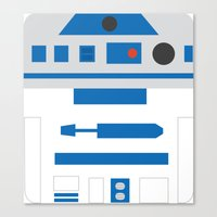 r2d2 Canvas Prints featuring r2d2 by heartfeltdesigns by Telahmarie