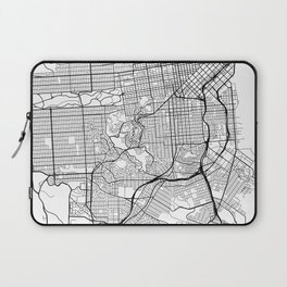San Francisco Map, USA - Black and White Laptop Sleeve