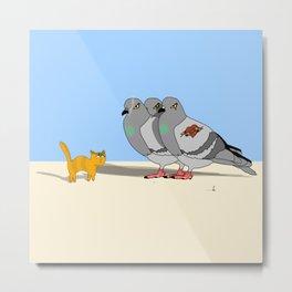 Cat amoung the Pigeons Metal Print