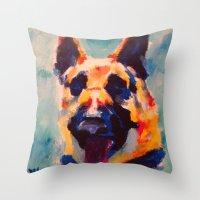 german Throw Pillows featuring German Shepherd by Heather Hartley