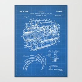 Airplane Jet Engine Patent - Airline Engine Art - Blueprint Canvas Print