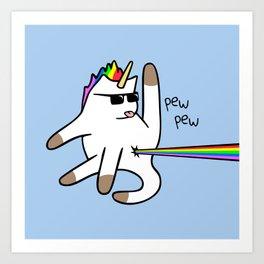 Unicorn Cat Rainbow Butt Laser Art Print